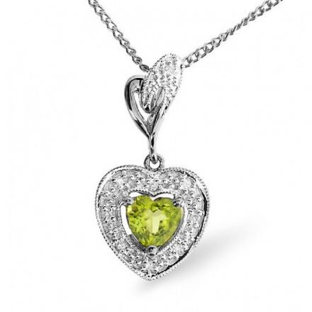 9K White Gold 0.05ct Diamond & 0.47ct Peridot Pendant, E2735